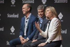 John Mitchell, left, Daniel Schwartz and Caroline Winterer converse in the opening panel at Thinking Big About Learning, Stanford's 125th Anniversary Symposium. (Photo: L.A. Cicero / Stanford News)