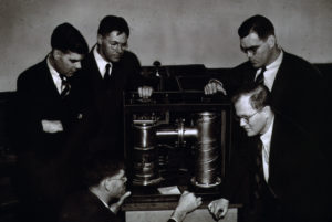 The Varian brothers and W.W. Hansen with their invention, the klystron