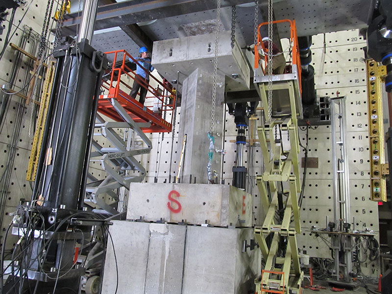 Preparations for testing a full-scale RC column specimen at the MAST lab in Minnesota.  HB-Risk Co-Founder Curt Haselton is Co-PI on this NSF-NEES project.