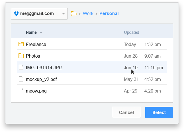 Kloudless File Explorer