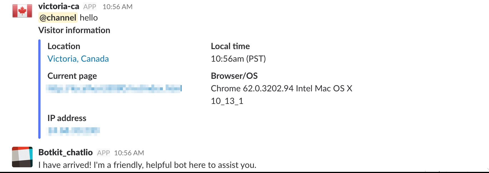 Chatlio bot responding in Slack