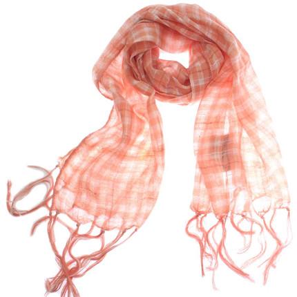 Pashmina cuadrille rosa con flecos, Spiga 31