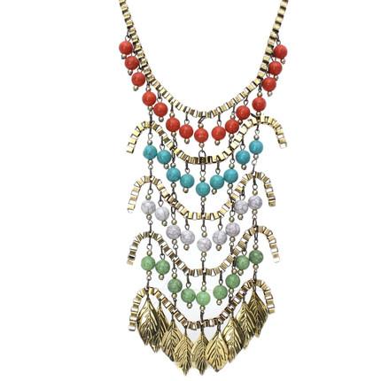 Collar colorido de bronce con hojas, ShenShina