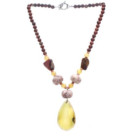 Collar piedras semipreciosas Marble, y Jaspe Moukaite, ShenShina
