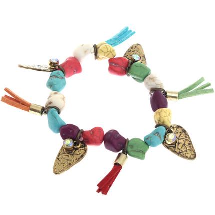 Pulserta elastizada piedras coloridas y dijes, ShenShina
