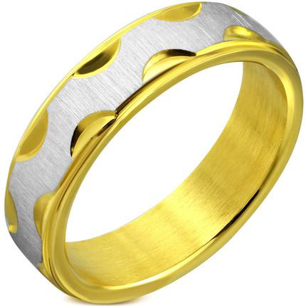 Anillo Acero quirúrgico combinado oro y plata, ShenShina