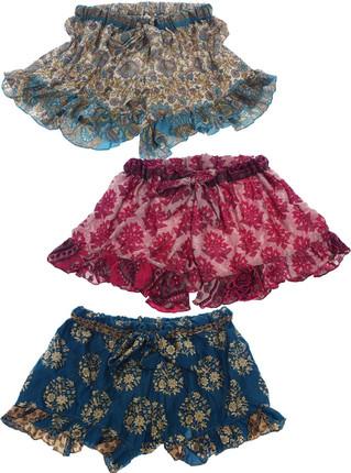 Pack x 3 Shorts de Seda India con volados, Clauden