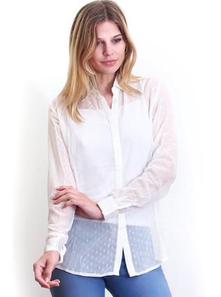 Camisa blanca con brillos y transparencia, NRE