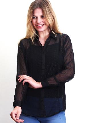 Camisa negra con brillos y transparencia, NRE