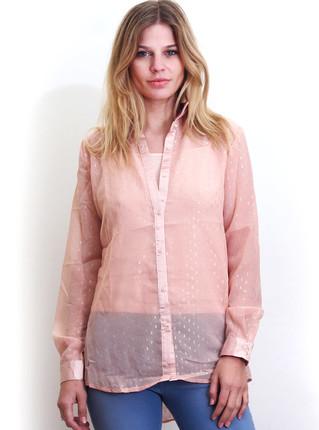 Camisa nude con brillos y transparencia, NRE