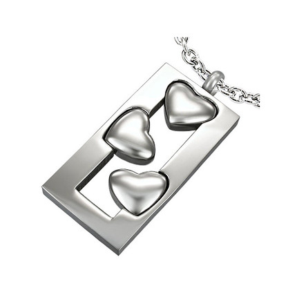 Dije rectangular y corazón de Acero Quirúrgico, ShenShina