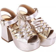Sandalia con Pulsera taco Acampanado modelo ANIS, Shoes Bayres