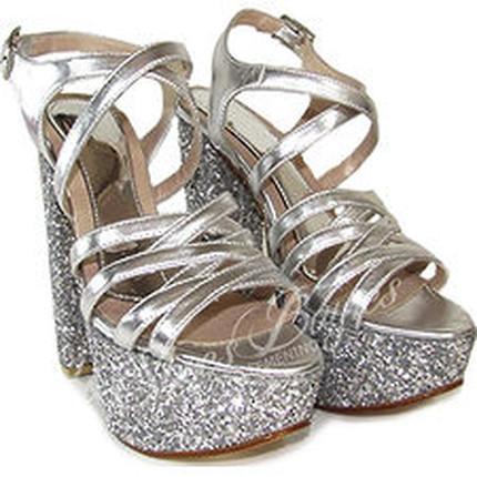Sandalia cuero y glitters con plataforma modelo..., Shoes Bayres