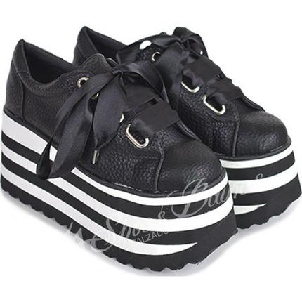 Zapatillas con plataforma rayada modelo INGRID, Shoes Bayres