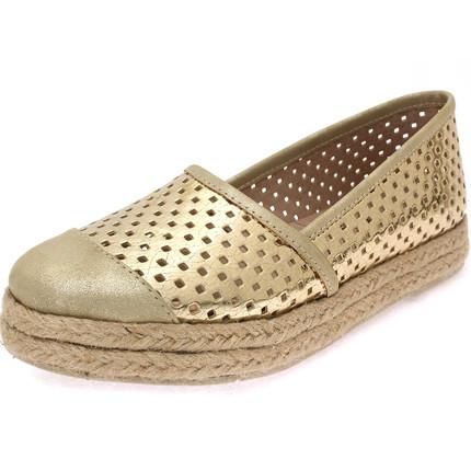 Zapato combinado picado oro, Lucila