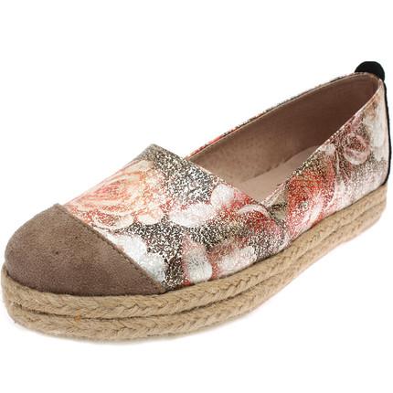 Zapato combinado estampado beige, Lucila