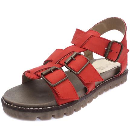 Sandalia de cuero rojo con tres hebillas, Sucre