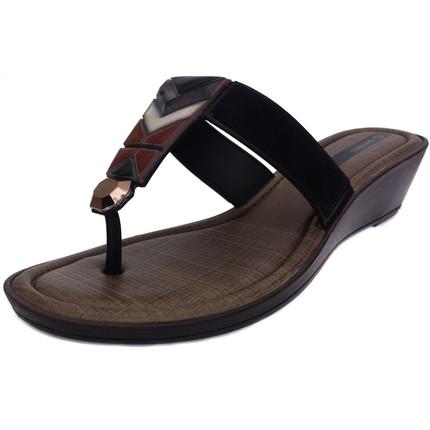 Sandalia ojota negra con banda colorida, Grendha