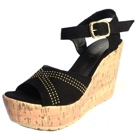 Sandalias negras con apliques dorados, Fuel