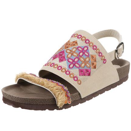 Sandalia beige bordada con flecos, Giup