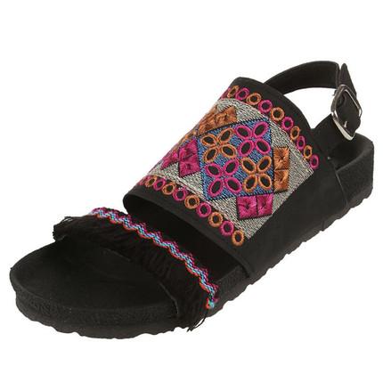 Sandalia negra bordada con flecos, Giup