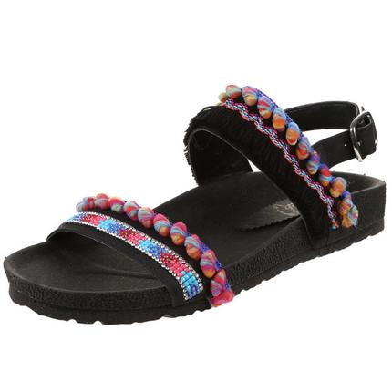 Sandalia negra con bordado y borlas, Giup