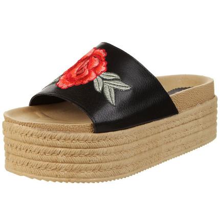 Sandalia bordada flor negra, Fuel