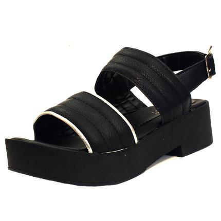 Sandalia negra con borde plateado, Fuel