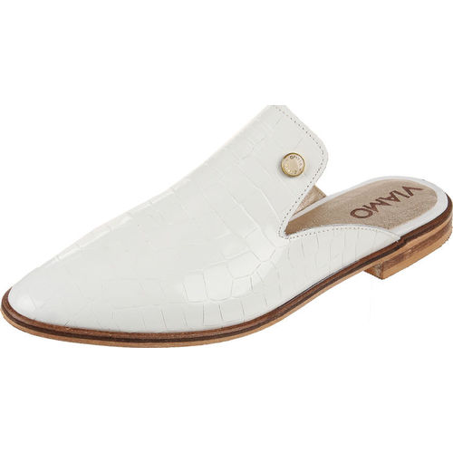 Zueco de Cuero Blanco Viamo Betty Viamo