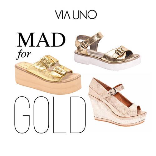 d26775467 Via Uno Zapatos y Sandalias Doradas de Verano - El Bazar