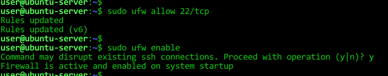 After we have opened port 22, we enabled the UFW with ufw enable command.