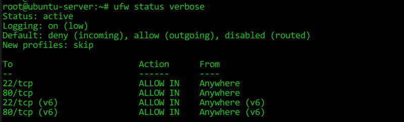 If you need more information, check the verbose status of the Ubuntu Firewall.