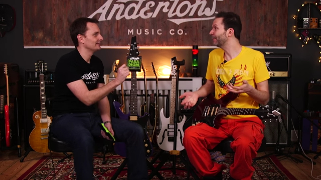 The Captain and Paul gilbert check out the strength of the new Ernie Ball Paradigm strings.