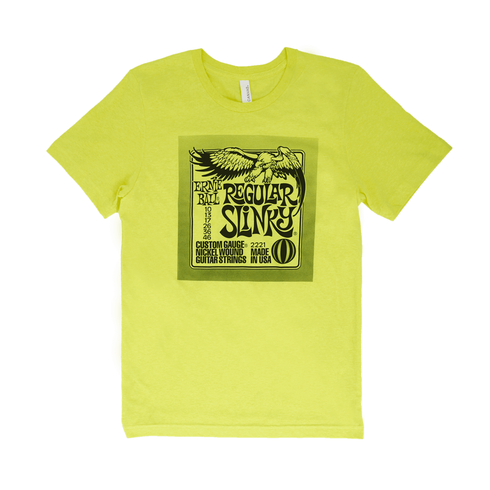 Ernie Ball Regular Pack T-Shirt Yellow Small Front