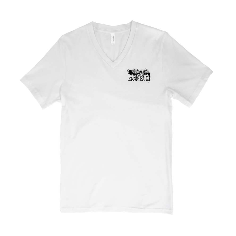 Ernie Ball Vintage Eagle Logo Classic V-Neck T-Shirt Small Front