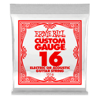 .016 Plain Steel Electric or Acoustic Guitar Strings 6 Pack Thumb