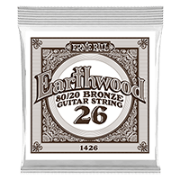 .026 Earthwood 80/20 Bronze Acoustic Guitar Strings 6 Pack Thumb