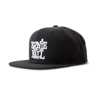 Black with White Stacked Ernie Ball Logo Hat Thumb