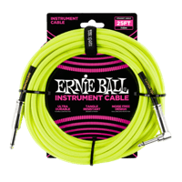 25' Braided Straight / Angle Instrument Cables Neon Yellow Thumb