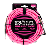 25' Braided Straight / Angle Instrument Cable - Neon Pink Thumb