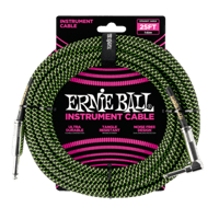 25' Braided Straight / Angle Instrument Cables Black / Green Thumb