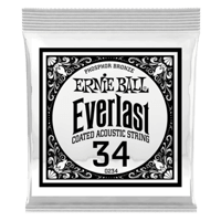 .034 Everlast Coated Phosphor Bronze Acoustic Guitar Strings 6 Pack Thumb