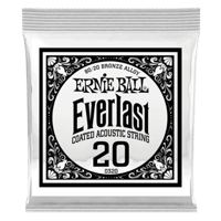 .020 Everlast Coated 80/20 Bronze Acoustic Guitar Strings 6 Pack Thumb