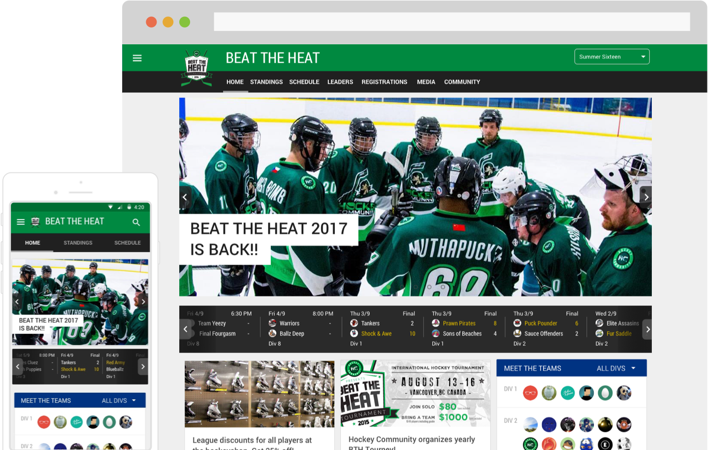 Hockey Tournament and League Software App