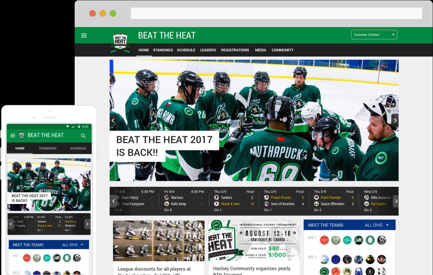 Hockey Tournament and League Software App