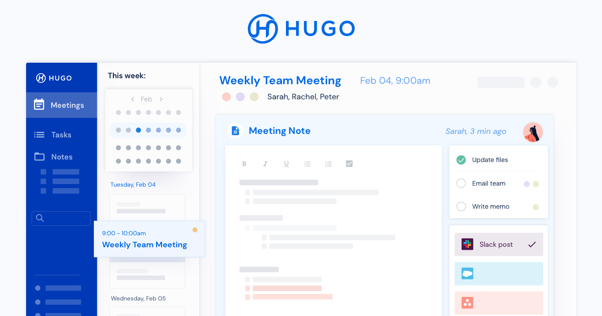 Hugo | Meetings, notes and tasks all in one place
