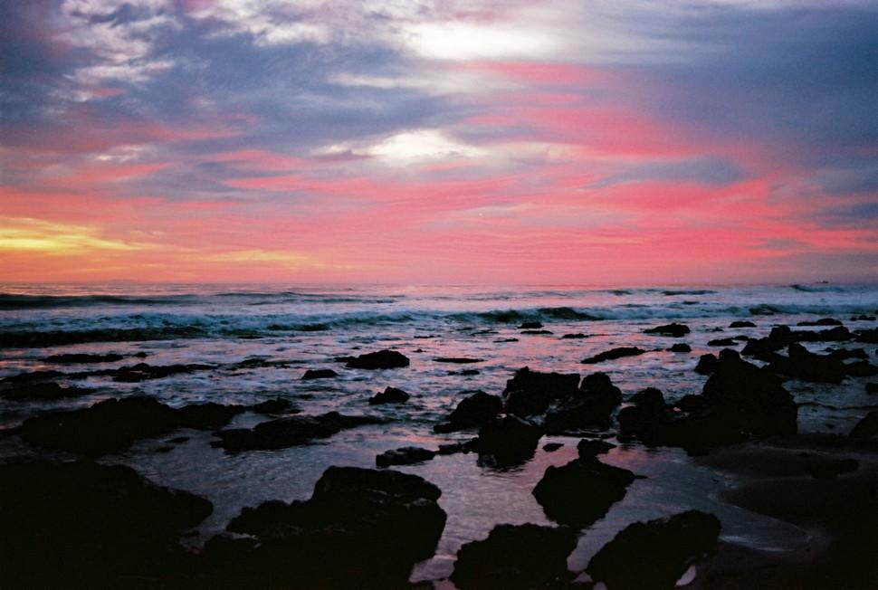 An ocean sunset near Santa Barbara, on Ektar film.