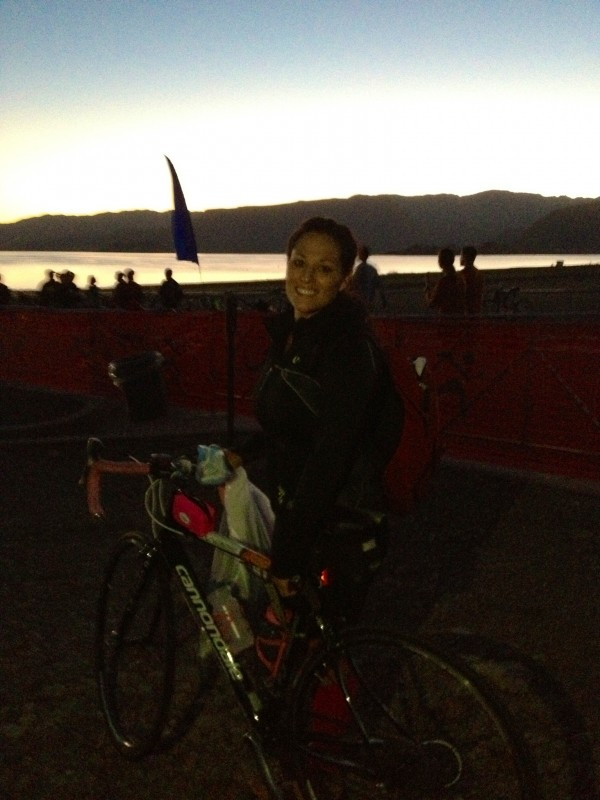 Biking with my sister.