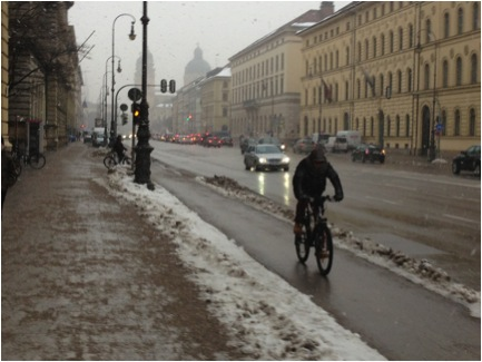 Despite freezing rain and snow, people were riding bikes. Though not as as many as in milder weather, I suspect.