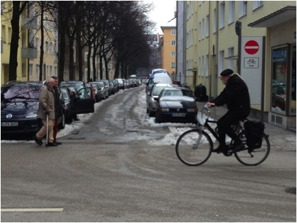 Local streets that serve neighborhoods and connect to wider arterials comprise the typical urban fabric of Munich. Many small streets are one-way for cars, but two-way for bikes.